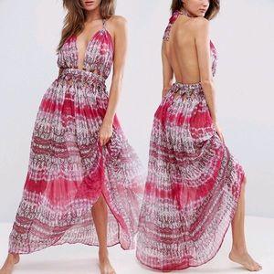 Open Back Beach Maxi Dress